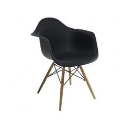 Scaun din plastic si lemn Mondi Negru